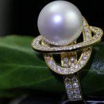 ring met parel en diamanten