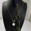 halsketting van echte parel en diamant