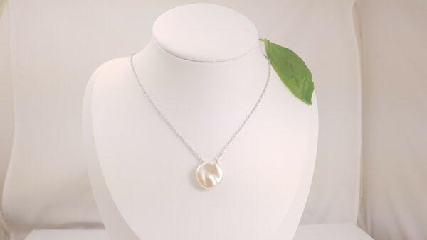 zilveren halsketting met keshi parel