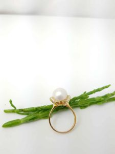 gouden ring met echte parel