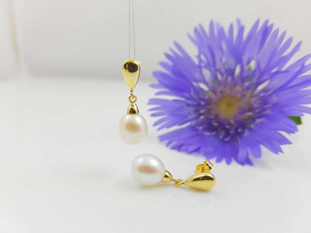 een voorbeeld van zoetwaterparels online, k gouden oorbellen met echte parels