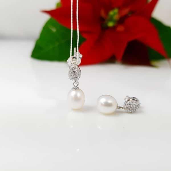 zilveren oorbelen met echte parels