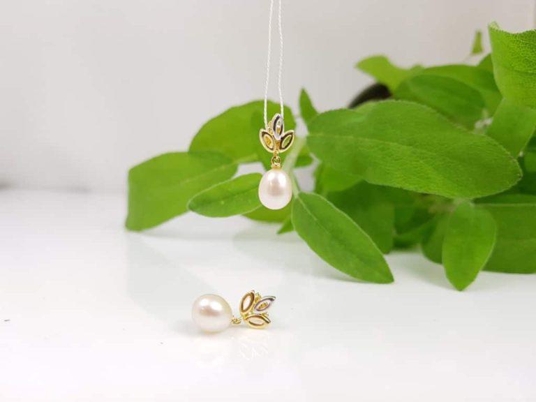 oorbellen van bicolour goud met echte parels