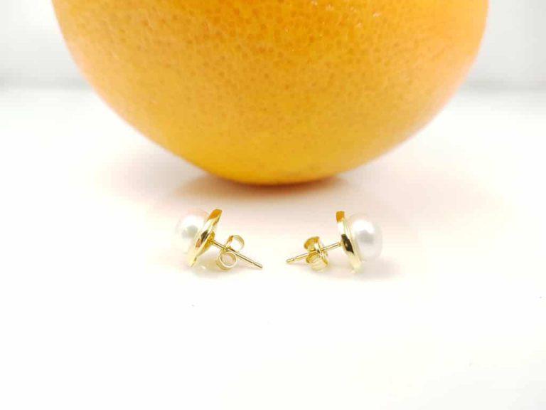 oorbellen van 18k goud met echte zoetwaterparels
