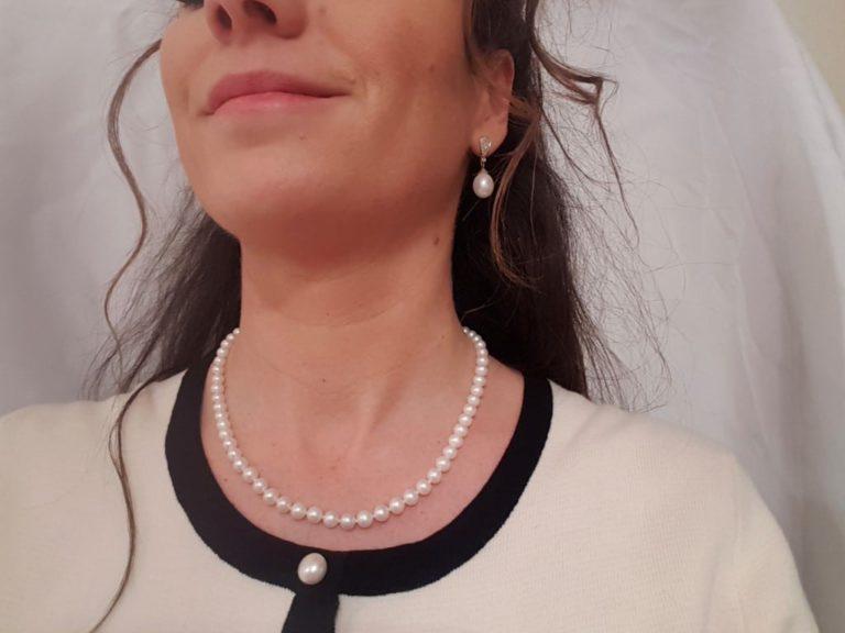 halsketting van echte parels, rond van vorm