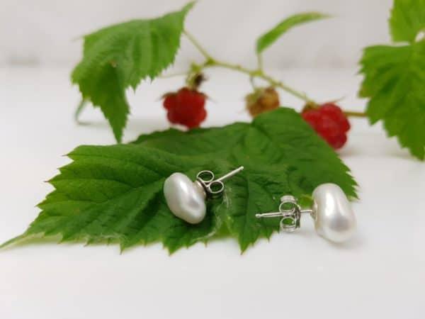 zilveren keshi oorbellen