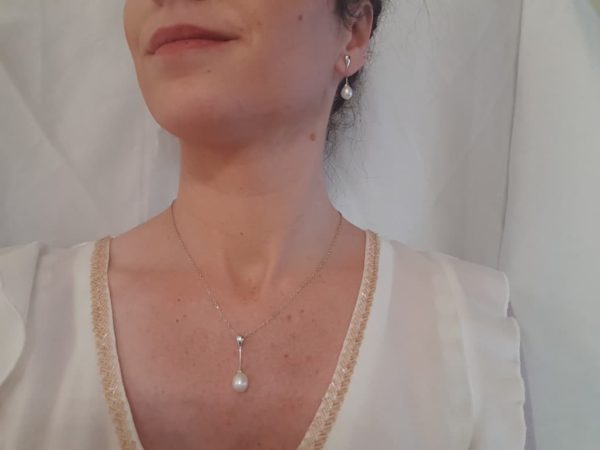 zilveren set met echte parels