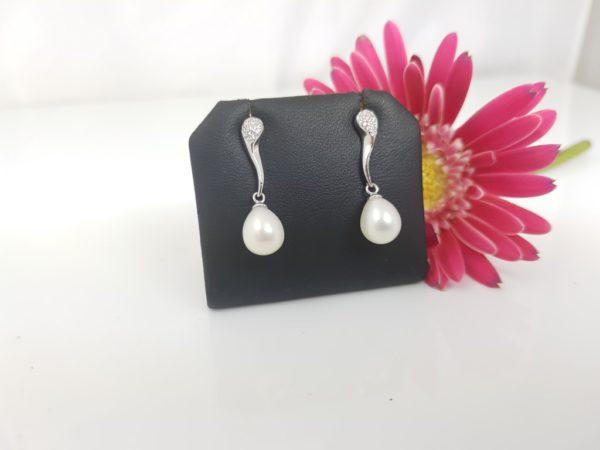 oorbellen in zilver met parels