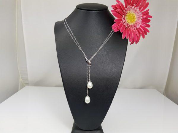 halsketting in zilver met echte parels