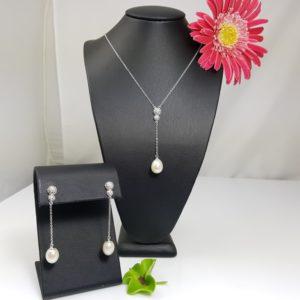 setje van echte parels in zilver