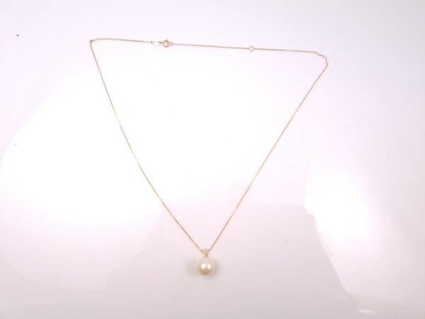 geelgouden ketting met echte parel en diamanten