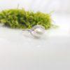 18k witgouden parelring met diamanten. Keshi parel