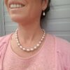 roze druppelvormige parelketting