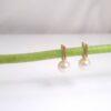 Geelgouden pareloorbellen