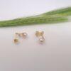 Geelgouden ginko oorbellen met parels