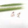 Witgouden ginko oorbellen met parels