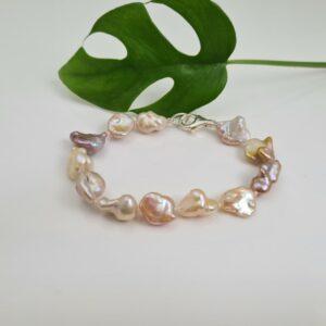 Armband van echte parels, keshi natuurlijke tinten.