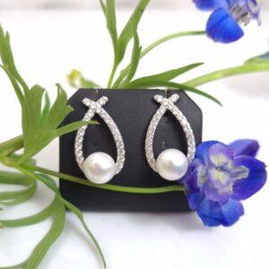 oorbellen in zilver met echte parels